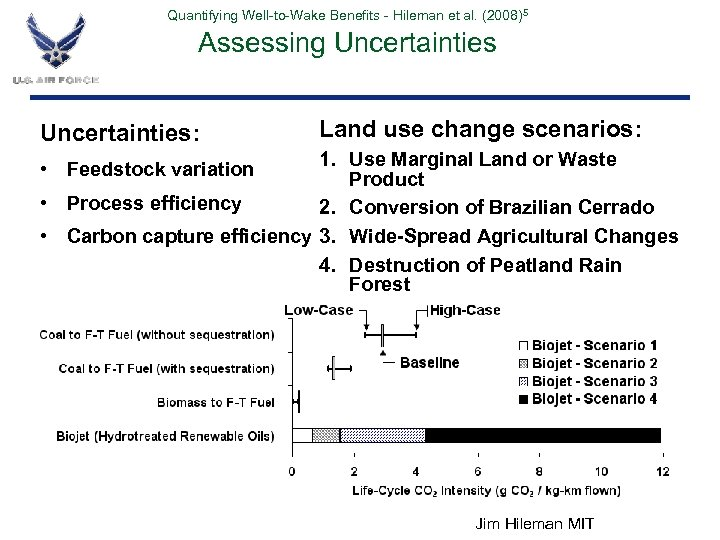 Quantifying Well-to-Wake Benefits - Hileman et al. (2008)5 Assessing Uncertainties: Land use change scenarios: