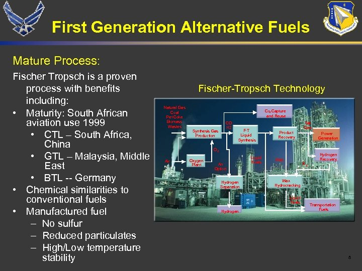 First Generation Alternative Fuels Mature Process: Fischer Tropsch is a proven process with benefits
