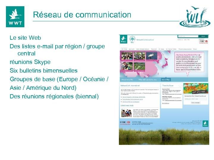 Réseau de communication Le site Web Des listes e-mail par région / groupe central