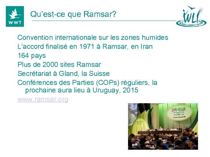 Qu'est-ce que Ramsar? Convention internationale sur les zones humides L'accord finalisé en 1971 à