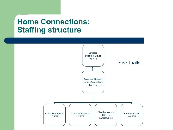 Home Connections: Staffing structure Director, Beans & Bread. 33 FTE ~ 6 : 1