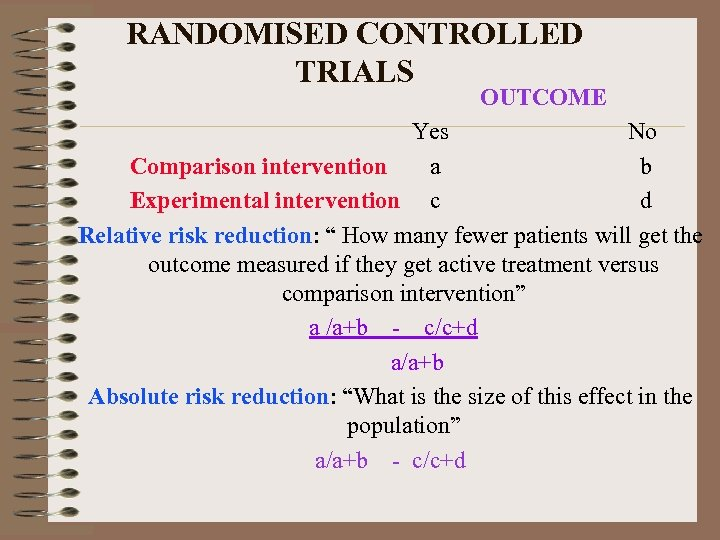 RANDOMISED CONTROLLED TRIALS OUTCOME Yes No Comparison intervention a b Experimental intervention c d