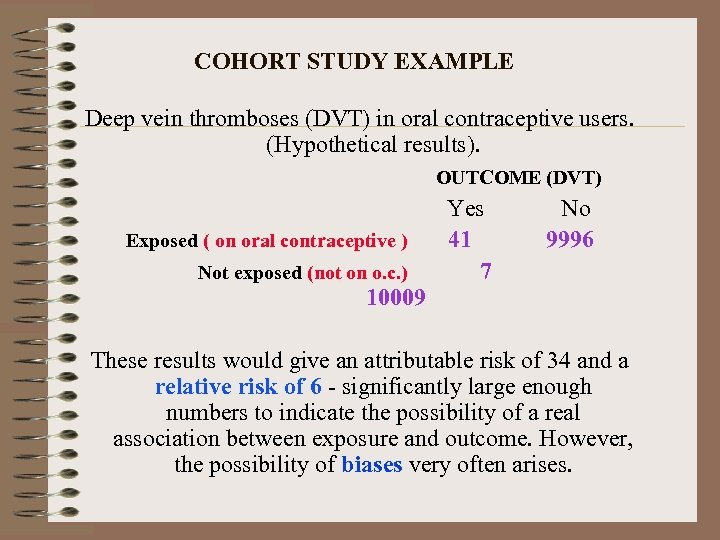 COHORT STUDY EXAMPLE Deep vein thromboses (DVT) in oral contraceptive users. (Hypothetical results). OUTCOME