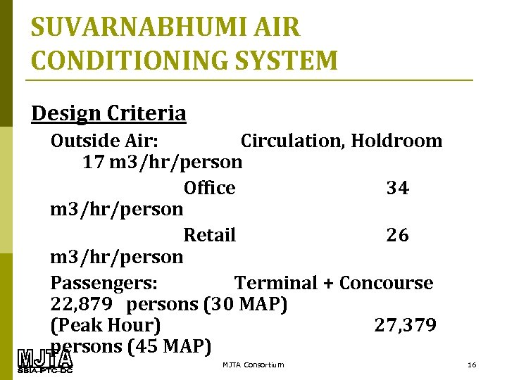 SUVARNABHUMI AIR CONDITIONING SYSTEM Design Criteria Outside Air: Circulation, Holdroom 17 m 3/hr/person Office