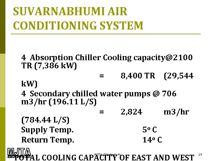 SUVARNABHUMI AIR CONDITIONING SYSTEM 4 Absorption Chiller Cooling capacity@2100 TR (7, 386 k. W)