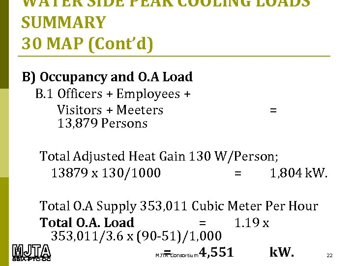 WATER SIDE PEAK COOLING LOADS SUMMARY 30 MAP (Cont'd) B) Occupancy and O. A