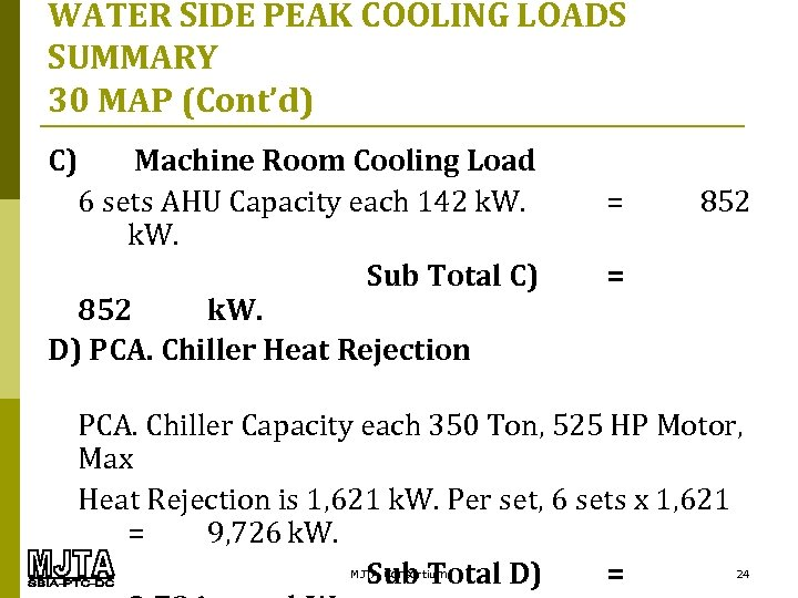 WATER SIDE PEAK COOLING LOADS SUMMARY 30 MAP (Cont'd) C) Machine Room Cooling Load