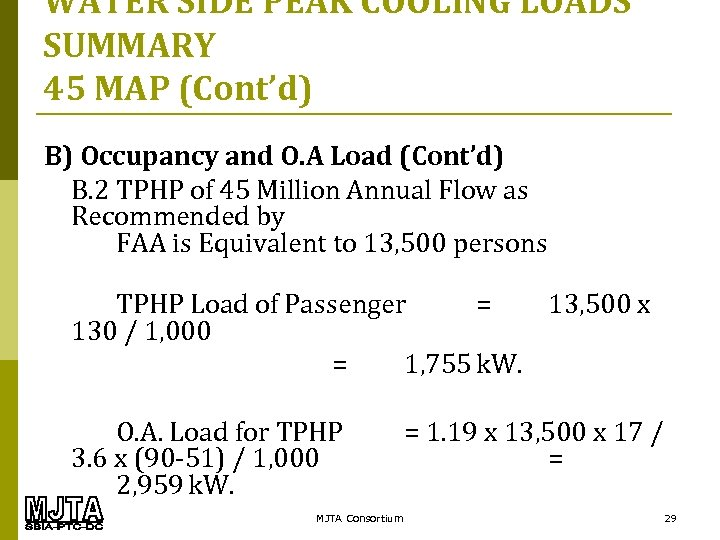 WATER SIDE PEAK COOLING LOADS SUMMARY 45 MAP (Cont'd) B) Occupancy and O. A