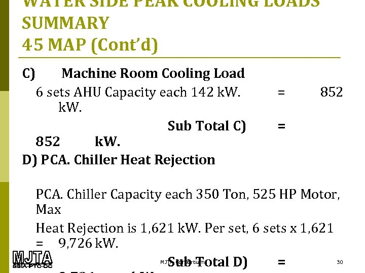 WATER SIDE PEAK COOLING LOADS SUMMARY 45 MAP (Cont'd) C) Machine Room Cooling Load