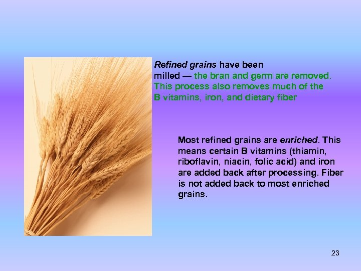 Refined grains have been milled — the bran and germ are removed. This process