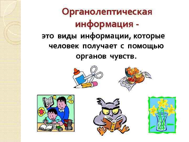 Органолептическая информация это виды информации, которые человек получает с помощью органов чувств.