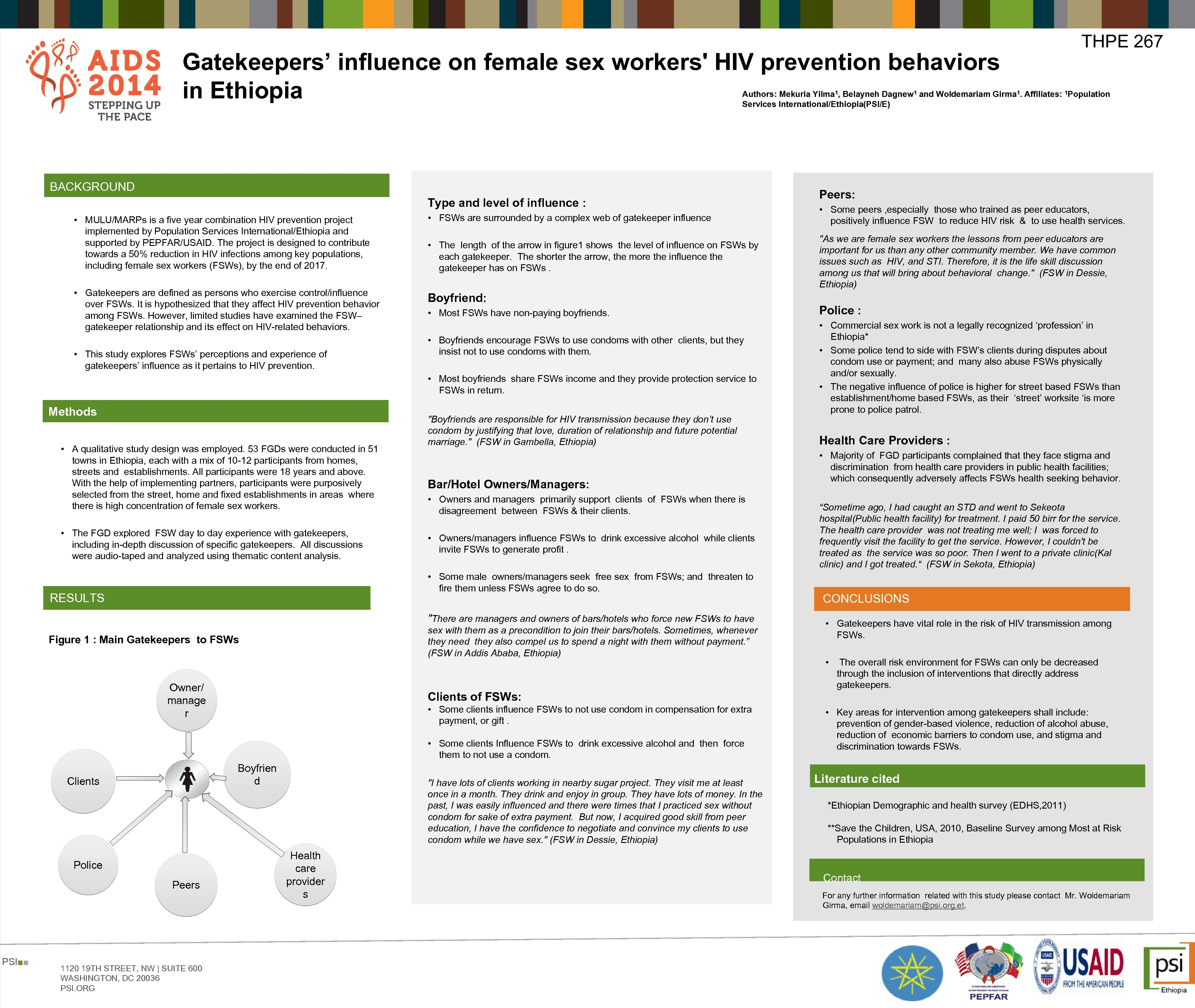 Gatekeepers' influence on female sex workers' HIV prevention behaviors in Ethiopia THPE 267 Authors: