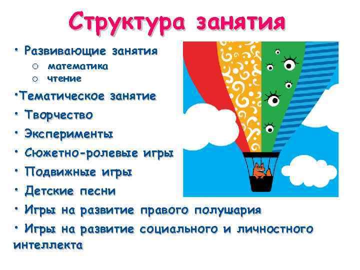 Структура занятия • Развивающие занятия o математика o чтение • Тематическое занятие • Творчество