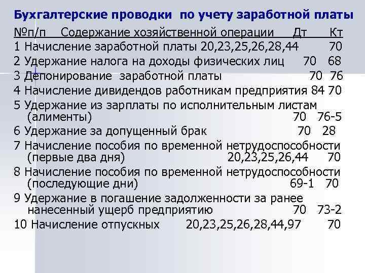 Бухгалтерские проводки по учету заработной платы №п/п Содержание хозяйственной операции Дт Кт 1 Начисление