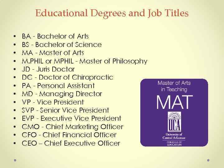 Educational Degrees and Job Titles • • • • BA - Bachelor of Arts