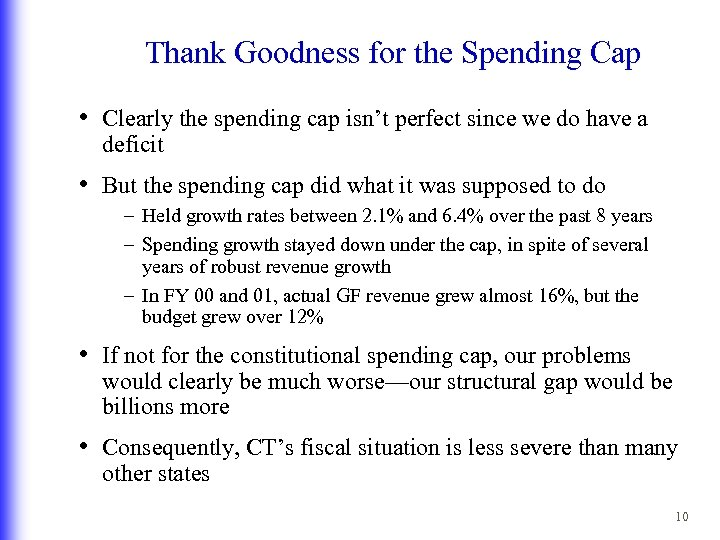 Thank Goodness for the Spending Cap • Clearly the spending cap isn't perfect since