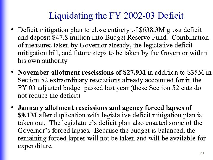 Liquidating the FY 2002 -03 Deficit • Deficit mitigation plan to close entirety of