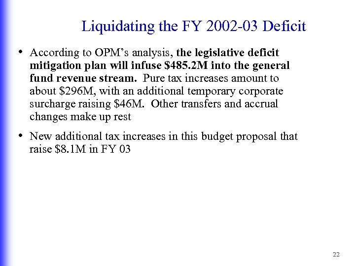 Liquidating the FY 2002 -03 Deficit • According to OPM's analysis, the legislative deficit