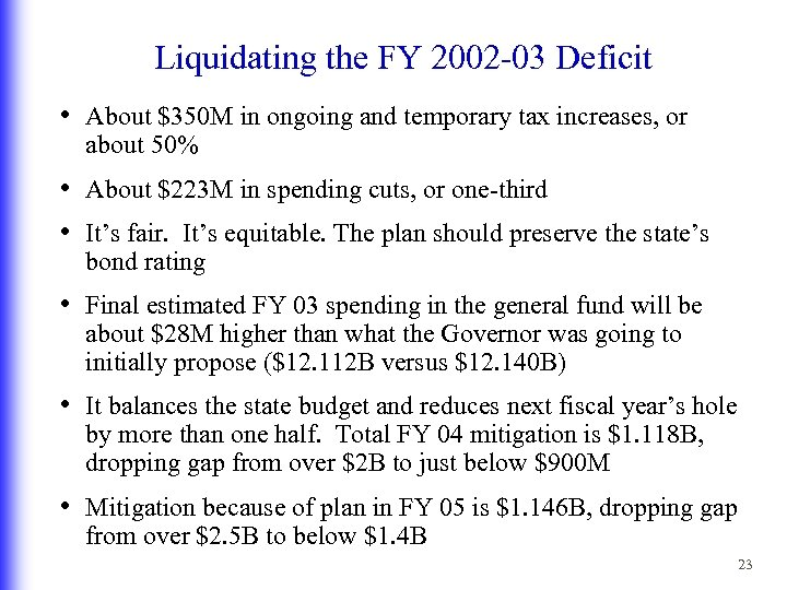 Liquidating the FY 2002 -03 Deficit • About $350 M in ongoing and temporary