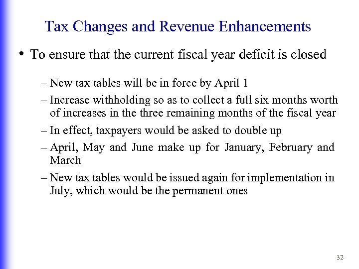 Tax Changes and Revenue Enhancements • To ensure that the current fiscal year deficit