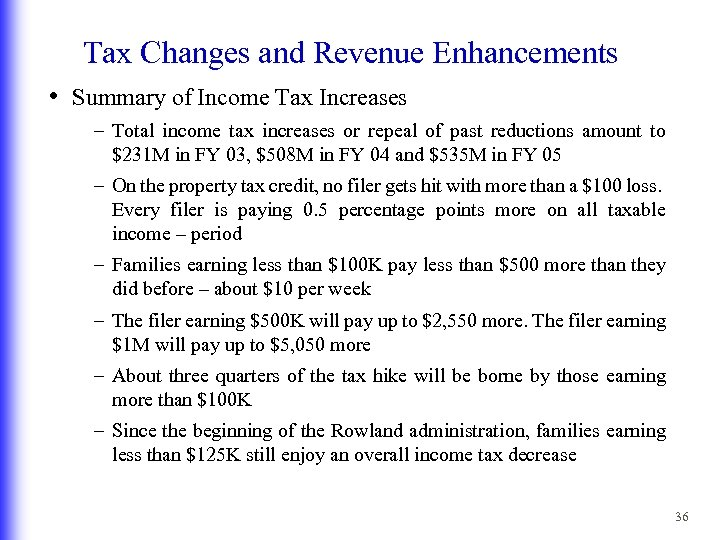 Tax Changes and Revenue Enhancements • Summary of Income Tax Increases – Total income