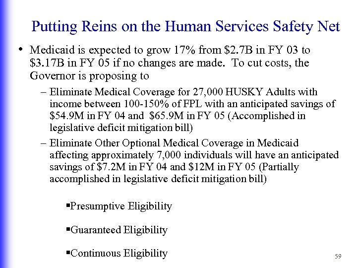 Putting Reins on the Human Services Safety Net • Medicaid is expected to grow