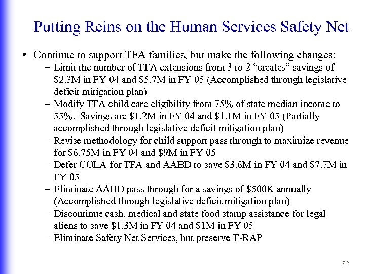 Putting Reins on the Human Services Safety Net • Continue to support TFA families,
