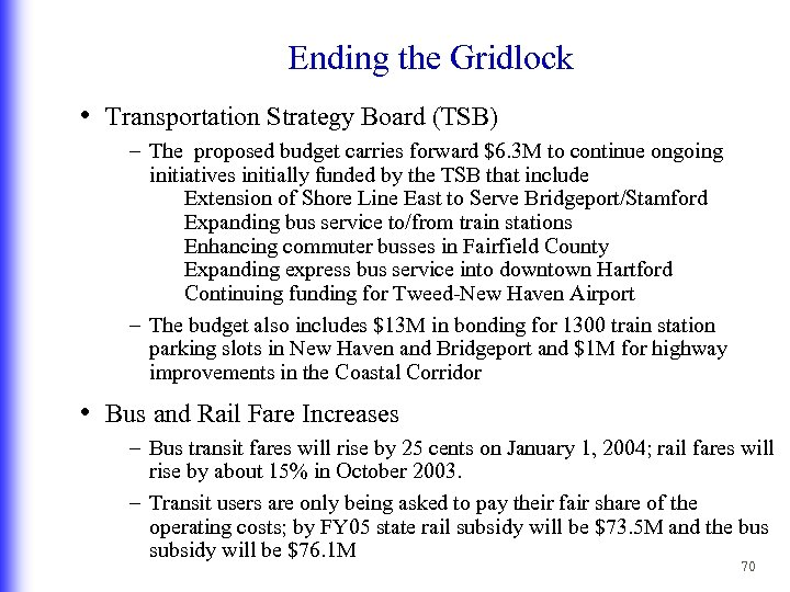 Ending the Gridlock • Transportation Strategy Board (TSB) – The proposed budget carries forward