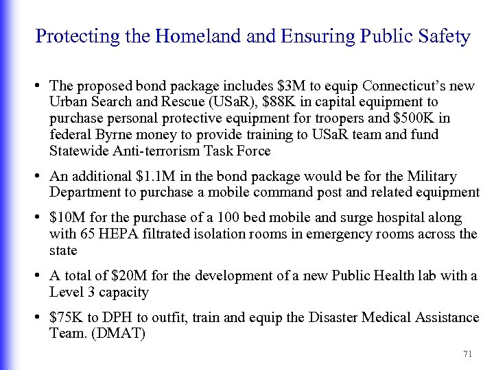 Protecting the Homeland Ensuring Public Safety • The proposed bond package includes $3 M