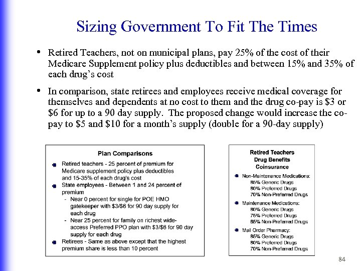 Sizing Government To Fit The Times • Retired Teachers, not on municipal plans, pay