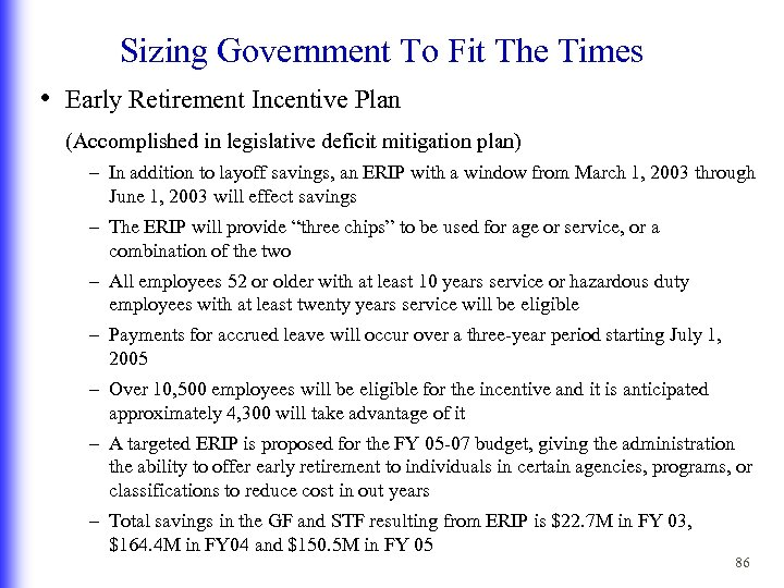 Sizing Government To Fit The Times • Early Retirement Incentive Plan (Accomplished in legislative