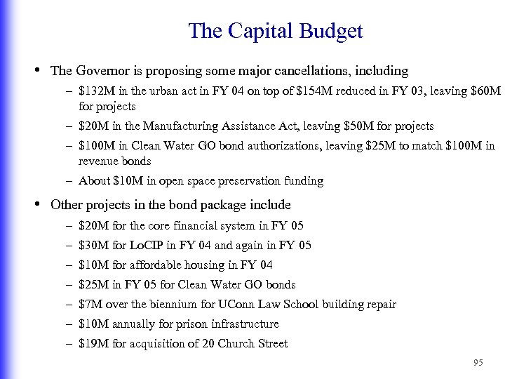 The Capital Budget • The Governor is proposing some major cancellations, including – $132