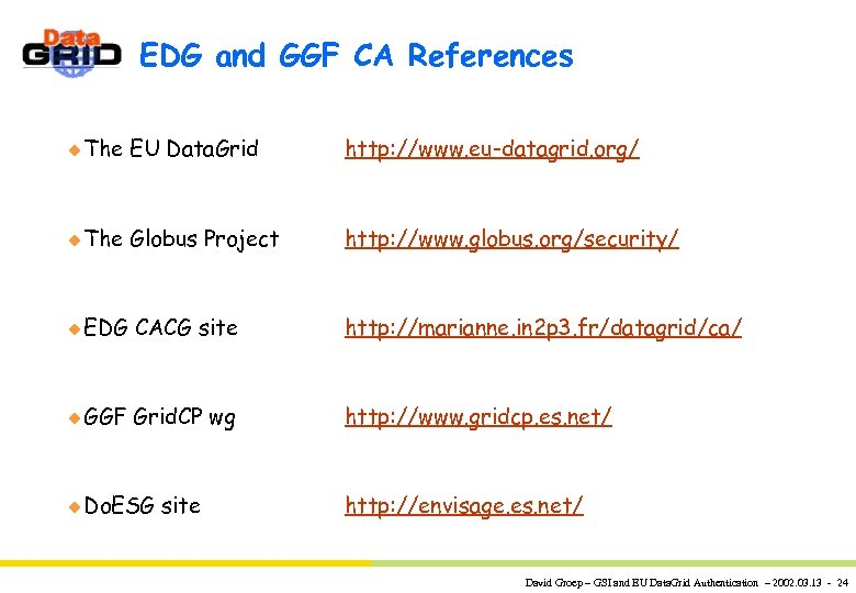 EDG and GGF CA References u The EU Data. Grid http: //www. eu-datagrid. org/