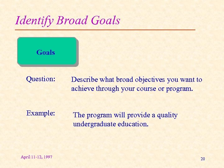 Identify Broad Goals Question: Describe what broad objectives you want to achieve through your