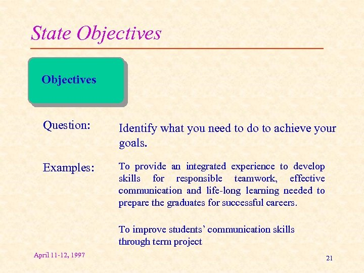 State Objectives Question: Identify what you need to do to achieve your goals. Examples: