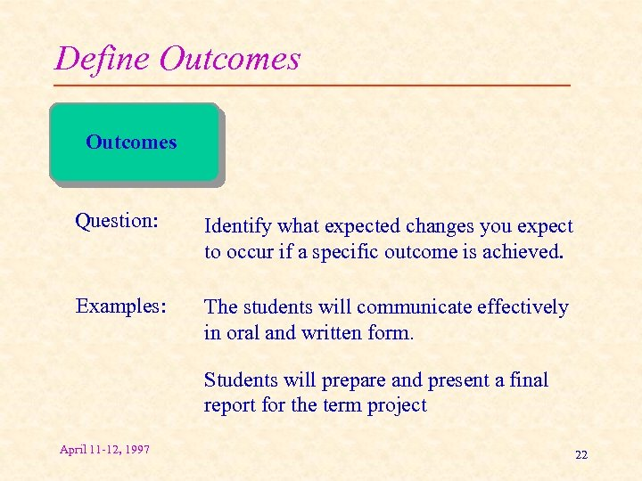Define Outcomes Question: Identify what expected changes you expect to occur if a specific
