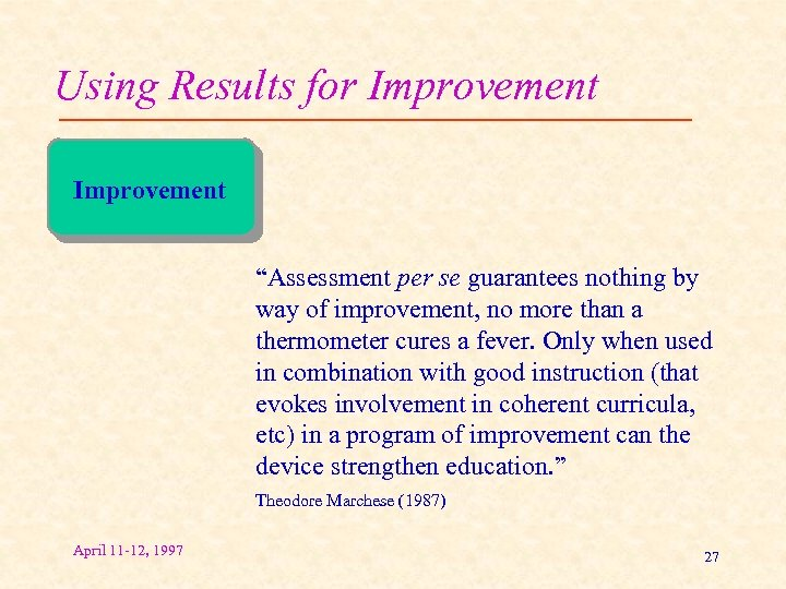 """Using Results for Improvement """"Assessment per se guarantees nothing by way of improvement, no"""