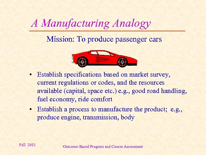 A Manufacturing Analogy Mission: To produce passenger cars • Establish specifications based on market