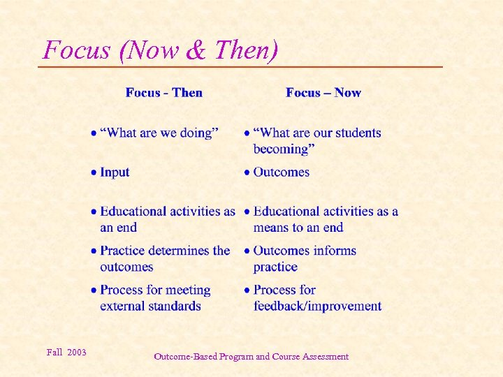 Focus (Now & Then) Fall 2003 Outcome-Based Program and Course Assessment