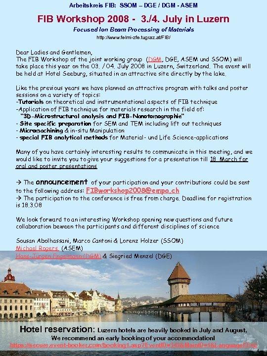 Arbeitskreis FIB: SSOM – DGE / DGM - ASEM FIB Workshop 2008 - 3.