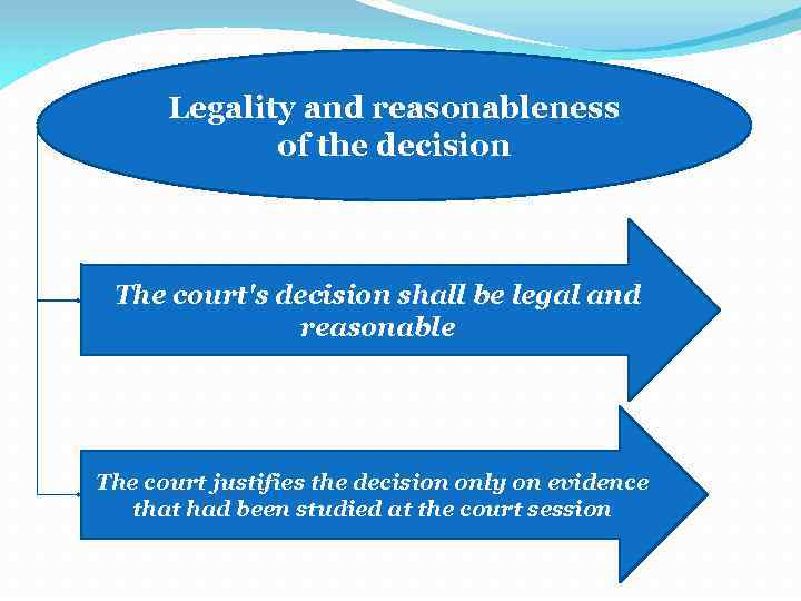 Legality and reasonableness of the decision The court's decision shall be legal and reasonable