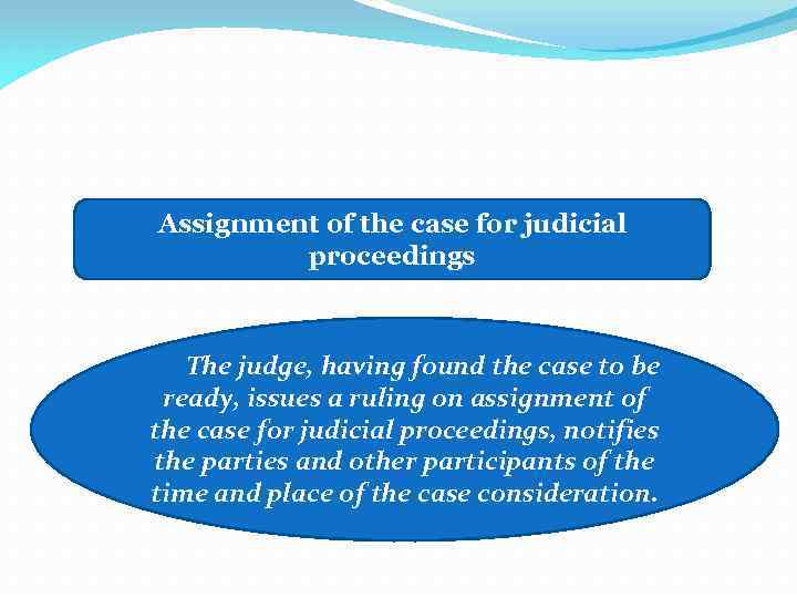 Assignment of the case for judicial proceedings The judge, having found the case to