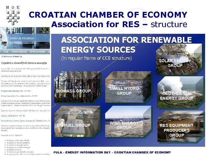 CROATIAN CHAMBER OF ECONOMY Association for RES – structure ASSOCIATION FOR RENEWABLE ENERGY SOURCES