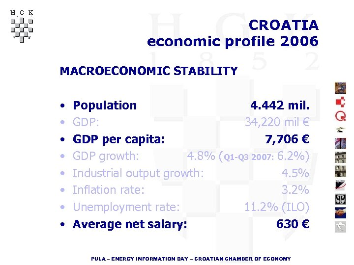 CROATIA economic profile 2006 MACROECONOMIC STABILITY • • Population 4. 442 mil. GDP: 34,