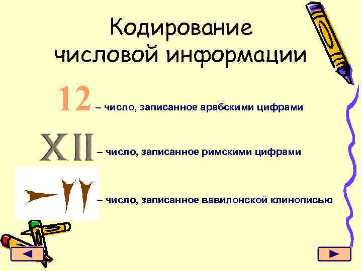 Кодирование числовой информации 12 – число, записанное арабскими цифрами – число, записанное римскими цифрами