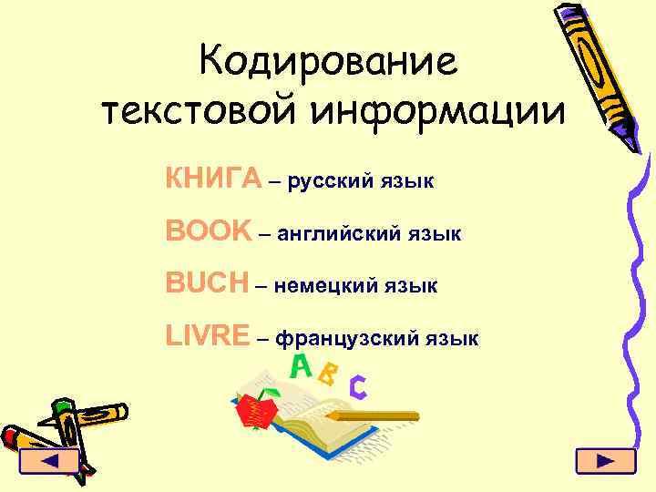 Кодирование текстовой информации КНИГА – русский язык BOOK – английский язык BUCH – немецкий