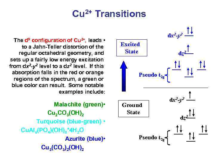 Cu 2+ Transitions The d 9 configuration of Cu 2+, leads • to a