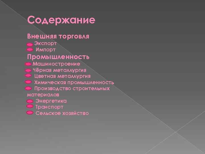 Содержание Внешняя торговля Экспорт Импорт Промышленность Машиностроение Чёрная металлургия Цветная металлургия Химическая промышленность Производство