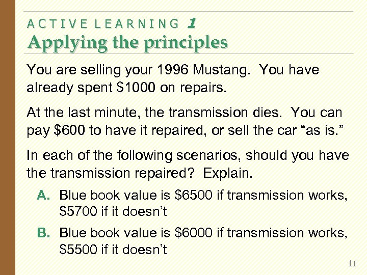 ACTIVE LEARNING 1 Applying the principles You are selling your 1996 Mustang. You have