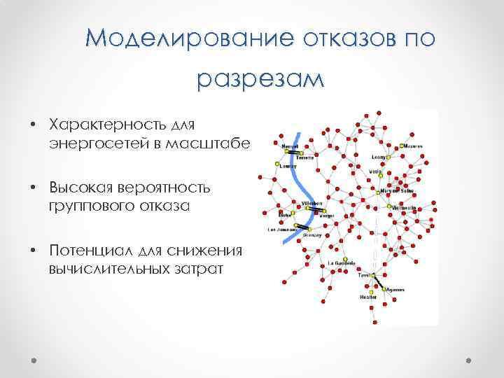Моделирование отказов по разрезам • Характерность для энергосетей в масштабе • Высокая вероятность группового